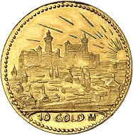 Josef Wild. 10 gold marks 1923. Nearly FDC. Price estimate: 300.- euros. From Künker auction 321 (15 March, 2019), No. 6810.