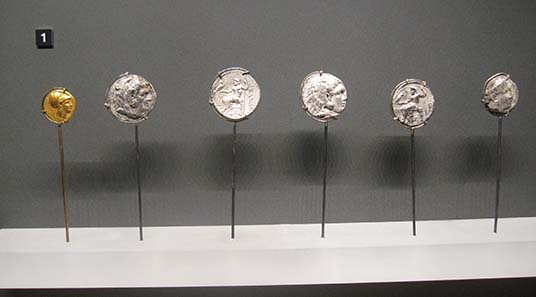 Macedonian coins. Photograph: KW.