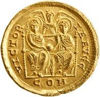 Roman Empire. Valentinian II. AD 383-387. Milan. AV Solidus. ANS 1977.158.947. Photo: American Numismatic Society.