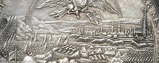 Details of the reverse with view of the city of Vienna and its immediate surroundings: in the back on the right Vienna with St. Stephen's Cathedral and the Leopoldstadt district, on the left Kahlenberg Mountain.
