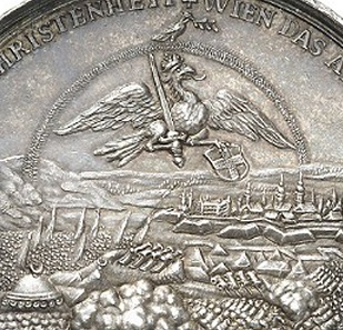 A rainbow spans the fighting, below it sits an eagle with a sword and the coat of arms of Vienna.
