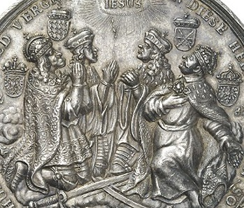 The princes in detail, from left to right: Leopold I, Holy Roman Emperor and Archduke of Austria; Maximilian II Emanuel, Prince-Elector and Duke of Bavaria; John George III, Prince-Elector of Saxony; and John (Jan) III Sobieski, King of Poland and Grand Duke of Lithuania.