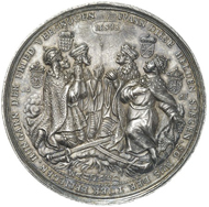 The obverse depicts the four highest-ranking princes that took part in the battle. In prayer, they are giving thanks for their victory.