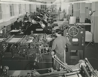 View of the machine room for letterpress printing, with Miller and Heidelberg presses. Photo: Archiv Orell Füssli.