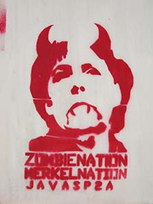 Traces of protest: German chancellor Angela Merkel as vampir. Photograph: KW.