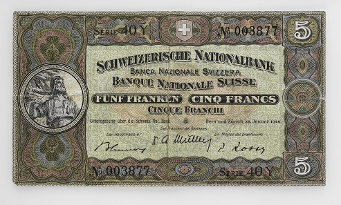A Series 2 5-franc note, which was in circulation from 1914 to 1980. Photo: Swiss National Museum.