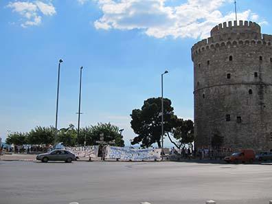 Demonstranten am Weißen Turm. Foto: KW.