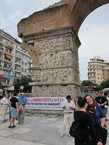 Gathering to demonstrate in front of the Arch of Galerius. Photograph: KW.