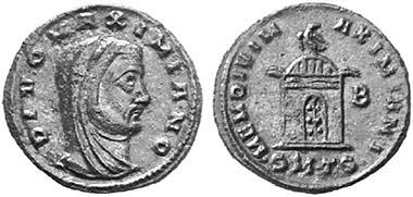 Divus Galerius. Follis, 311, Thessalonika. Rv. Grabbau mit Kuppeldach, darauf Adler. Aus Auktion Lanz 109 (2002), 841.