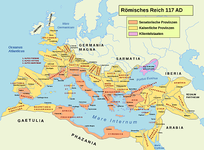 The Roman provinces at the time of Rome's greatest extent in 117 AD. Map: Furfur / Andrei nacu, cc-by-sa 1.2.
