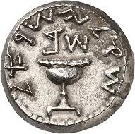 A numismatic testimony of a free Jerusalem: Shekel, Year 2 (= 67/68), Jerusalem. From Künker auction 318 (11-12 March, 2019), No. 787.