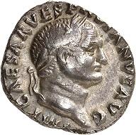 Vespasian. Denarius, 69/70. Very fine +. Estimate: 250.- euros. From Künker auction 318 (11-12 March, 2019), No. 1089.