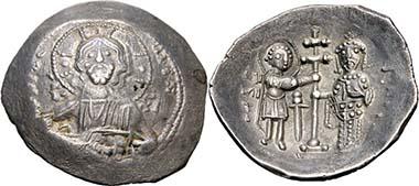 Alexios I. Komnenos. Aspron Trachy, Thessaloniki, 1082-1087. Rv. Hl. Demetrios und Kaiser. Aus Auktion Peus 401 (2010), 756. Foto: KW.