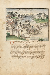 War at Lake Zurich, 1444. From the Swiss Chronicle (Eidgenössische Chronik), which was compiled by Werner Schodoler between 1510 and 1535. Photo: Municipal archives, Bremgarten.