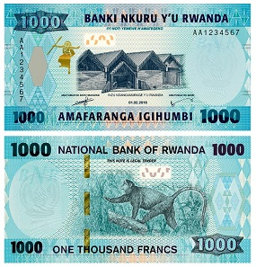 The dimensions of the new 1000 Francs note are 140 / 72 mm with the date shown on the front as 01.02.2019. Photo: National Bank of Rwanda.