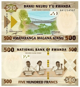 The dimensions for the new 500 Francs note are 135 / 72 mm with the date shown on the front as 01.02.2019. Photo: National Bank of Rwanda.