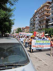 Protesters in front of the Church of Demetrios. Photograph: KW.