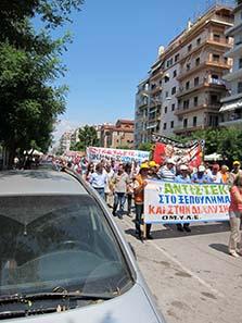 Demonstranten vor der Kirche des hl. Demetrios. Foto: KW.