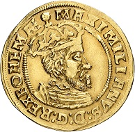 Frankfurt. Gold gulden 1562 on the coronation of Maximilian II as King of the Holy Roman Empire. Very rare. 2nd known specimen. Very fine to extremely fine. Price: 10,000 euros. From Künker auction 321 (15 March, 2019), No. 6646.