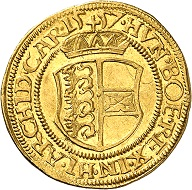 Ferdinand I. Ducat 1557, Klagenfurt. Very rare in this grade. Extremely fine to FDC. Price: 1,000 euros. From Künker auction 321 (15 March, 2019), No. 6401.
