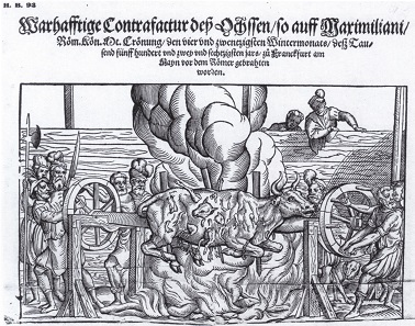 The banquet for the people on the Römer plaza. Single-sheet print from 1563.