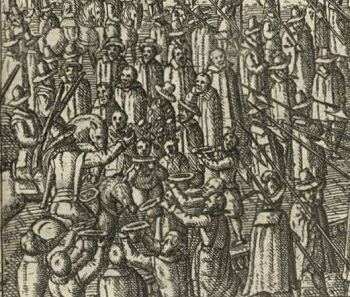 Coins being thrown into the masses. Detail of a copperplate engraving on occasion of the coronation of Matthias I, 1612.