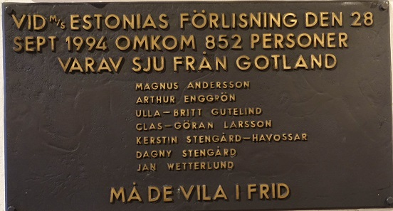Commemorative plaque for the sinking of the Estonia in 1994. Photo: KW.