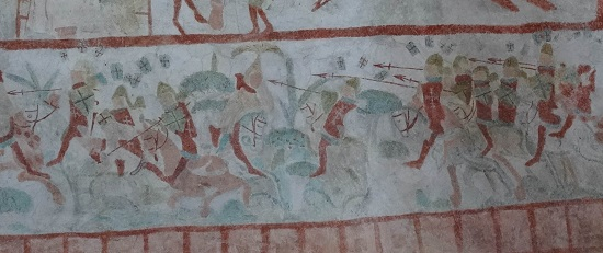 Battle of Visby 1361. Painting in the church of Bunge (886 inhabitants today). Photo: KW.