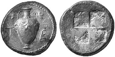 Terone. Tetradrachme, um 480. Oinochoe mit Reben. Künker 94 (2004), 633.