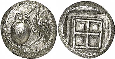 Terone, AR (0,33 g), spätes 5. Jh. Av. Kranich steckt den Kopf in eine Oinochoe. Aus Auktion Gorny & Mosch 186 (2010), 1230.