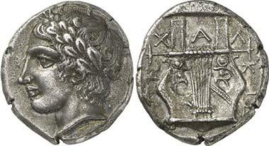 Chalkidische Liga. Tetradrachme, Olynth, ca. 410. Apollon. Rv. Kithara. Aus Auktion Gorny & Mosch 195 (2011), 123.