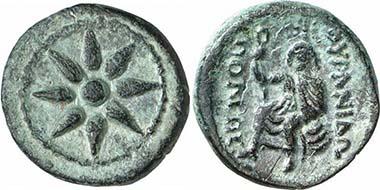 Ouranopolis. Bronze, ca. 300-250. Achtstrahliger Stern. Rv. Aphrodite Ourania. Aus Auktion Gorny & Mosch 160 (2007), 1227.
