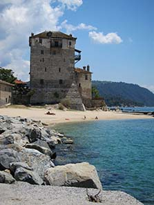 Byzantine guard tower of Ouranopolis. Photograph: KW.