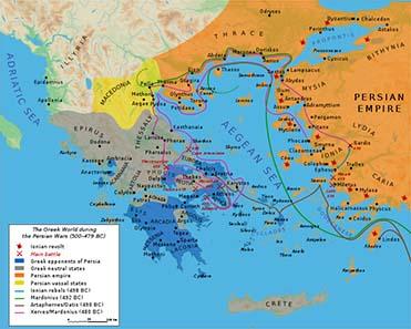 Karte Griechenlands zur Zeit der Perserkriege. Bibi Saint-Pol / Wikipedia.
