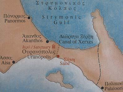 Lageplan des Isthmus des Athos. Foto: KW.
