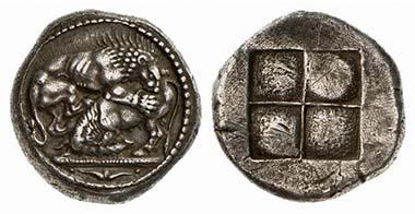 Akanthos. Tetradrachme, 530-480. Löwe einen Bullen reißend. Rv. Quadratum incusum. Aus Auktion Künker 104 (2005), 148.