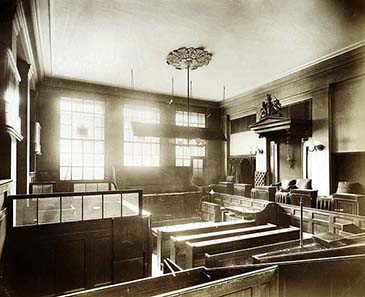Court room in Old Bailey, photograph from 1895.