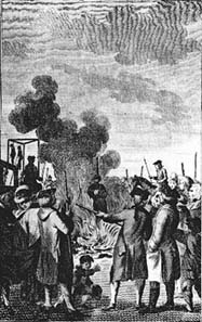 The burning of Ann Beddingfield in 1763; the court had showed her the mercy to be strangled before the burning.