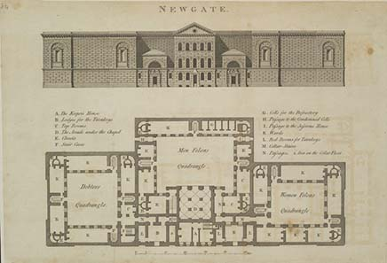 Map of New Gate Prison, built in 1782. Source: Wikipedia.