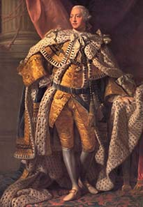 George III wearing the coronation robe - an image taken in better days. It was his illness and, most of all, his recovery, Catherine owed her reprieve to. Source: Wikipedia.