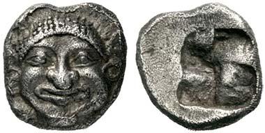 Neapolis. Obol, c. 525-490. Gorgoneion. Rev. Foud-field Quadratum Incusum. From auction Lanz 149 (2010), 101.