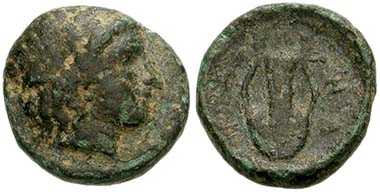 Zone. Bronze, um 350. Apollonkopf. Rv. Lyra. Aus Auktion CNG 145 (2006), 49.