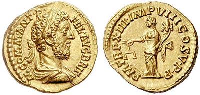 Nr. 113: ROM. Commodus (177-192). Aureus, 187 / 188. Rs. Aequitas. RIC III 164 (var.). Vorzüglich. 15.000 / 20.000 USD