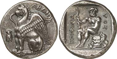Abdera. Stater, c. 411/410-386/5. Griffin. Rev. Herakles. From auction LHS Numismatik AG 102 (2008), 104.