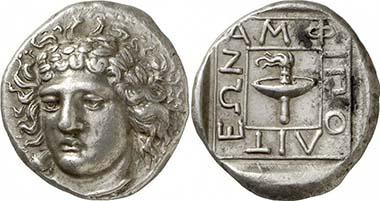 Amphipolis. Tetradrachme, ca. 369/8 v. Chr. Apollon. Rv. Tellerfackel. Aus Auktion Gorny & Mosch 190 (2010), 117.