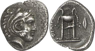 Philippi. Hemidrachm, 356-345. Head of Herakles. Rev. tripod. From auction Gorny & Mosch 195 (2011), 125.