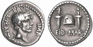 M. Iunius Brutus. Denarius, 42 B. C. Head of Brutus. Rev. pileus between two daggers. Cr. 508/3. From auction Künker 124 (2007), 8483.