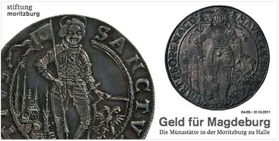 August von Sachsen, Taler auf die Inthronisation 1638 mit Ansicht der halleschen