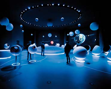 "A view inside the exhibition ""Universe of Particles"" in CERN, Geneva. Photograph: Michael Jungblut."