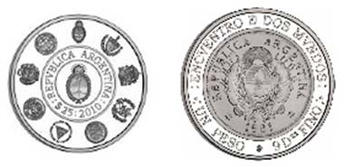 Argentina's coin. The obverse is a replica of the country's first 1-Peso coin minted in silver after 1881.